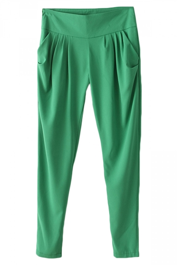 Green Simple Womens Plain Harem Pleated Leisure Pants