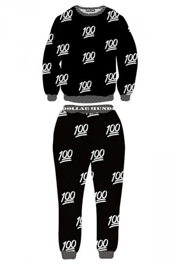 Ladies Crew Neck Jumper 100 Number Printed Pant Sweatshirt Set