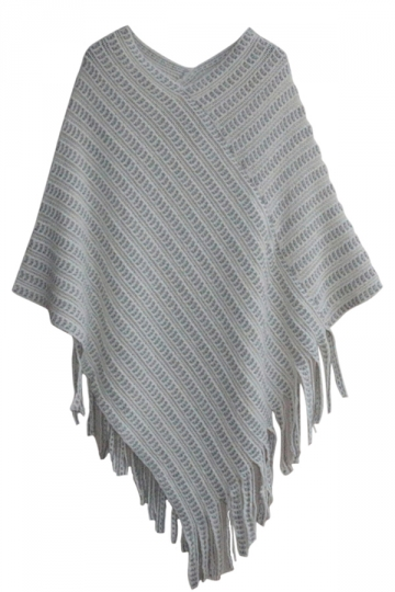 Ladies Fringe Batwing Sleeve Poncho Plain Pullover Sweater
