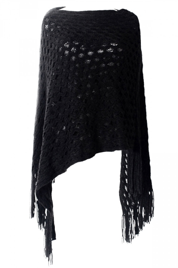 Black Womens Batwing Sleeve Fringe Poncho Plain Pullover Sweater