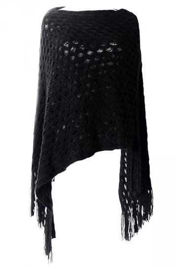 Black Womens Batwing Sleeve Fringe Poncho Plain Pullover Sweater
