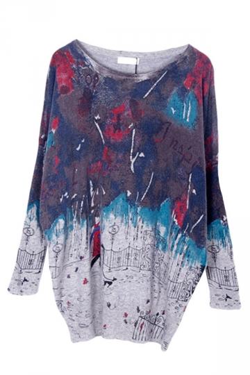 Gray Womens Cute Cartoon Pattern Chic Pullover Sweater