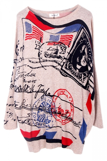 Beige American Post Pattern Loose Cool Ladies Pullover Sweater