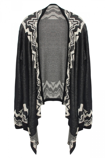 Black Ladies Long Sleeve Bohemian Patterned Cardigan Sweater
