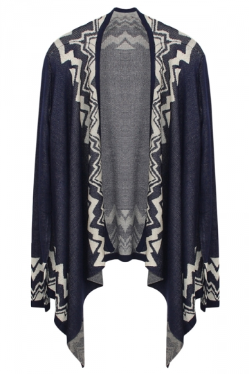 Navy Blue Ladies Long Sleeve Bohemian Patterned Cardigan Sweater