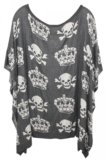 Gray Pretty Womens Crown Skull Printed Oversized Pullover Sweater