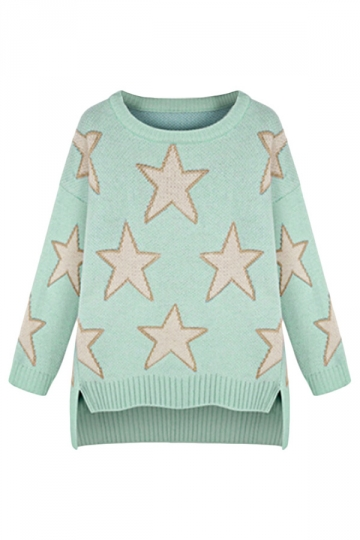 Green Ladies Stars Pattern Crew Neck Loose Cute Pullover Sweater