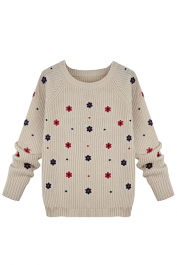 Beige Flowers Pattern Cute Ladies Crew Neck Pullover Sweater