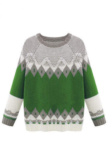 Green Ladies Pullover Argyle Thick Crew Neck Patchwork Sweater