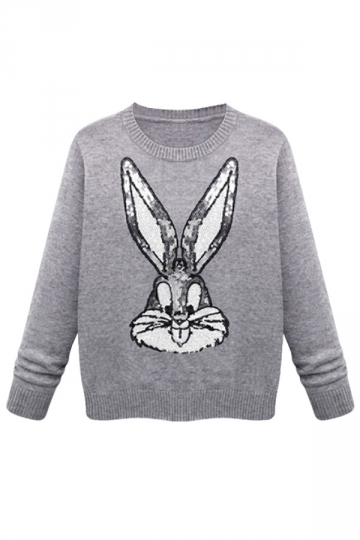 Gray Cute Womens Sequins Bugs Bunny Thick Pullover Sweater