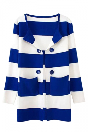 Womens Stripe Printed Color Block Patterned Cardigan Sweater