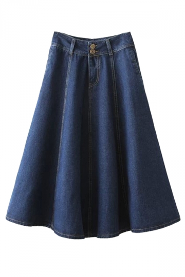 Blue Stylish Womens Plain Midi Ruffle High Waist Denim Skirt