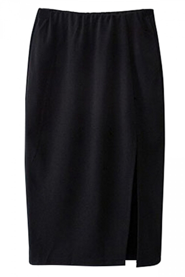 Black Elegant Ladies Plain Split Midi Pencil Skirt