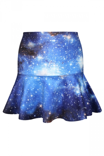 Blue Classic Womens Galaxy Printed Fishtail Pleated Skirt