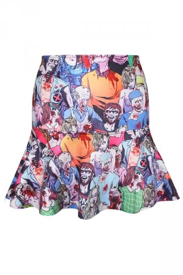 Blue Ladies Walking Dead Printed Fishtail Horror Pleated Skirt