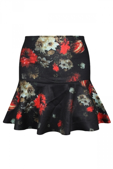 Black Vintage Flowers Printed Ladies Fishtail Pleated Skirt