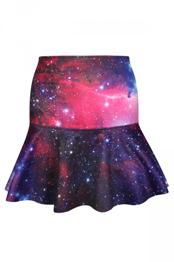 Red Vintage Galaxy Printed Ladies Fishtail Pleated Skirt