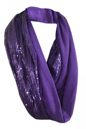 Purple Womens Single Jersey Circular Scarf Sequined Plain Scarf