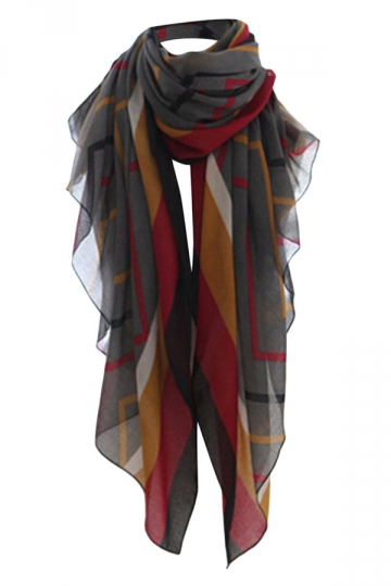 Black Ladies Chic Plaid Vintage Fancy Scarf
