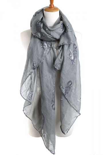 Gray Stylish Womens Cat Kitten Voile Animal Print Scarf