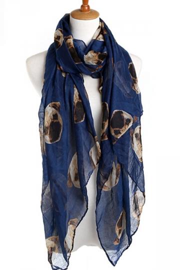 Navy Blue Trendy Ladies Pug Voile Animal Print Scarf