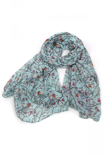 Turquoise Trendy Womens Voile Bird Printed Floral Scarf