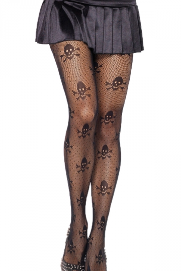 Black Stylish Ladies Sheer Lace Skull Pattern Tights