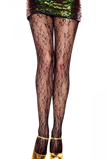 Black Womens Jacquard Weave Flower Pattern Lace Sheer Tights