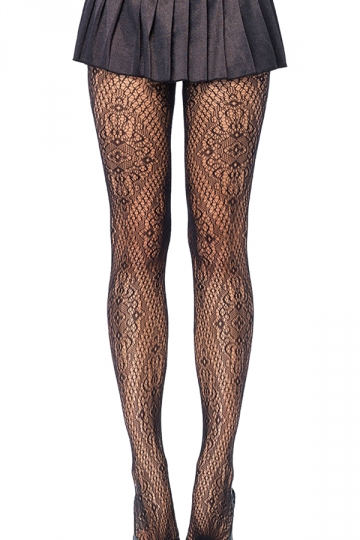Black Trendy Ladies Jacquard Weave Sheer Lace Tights