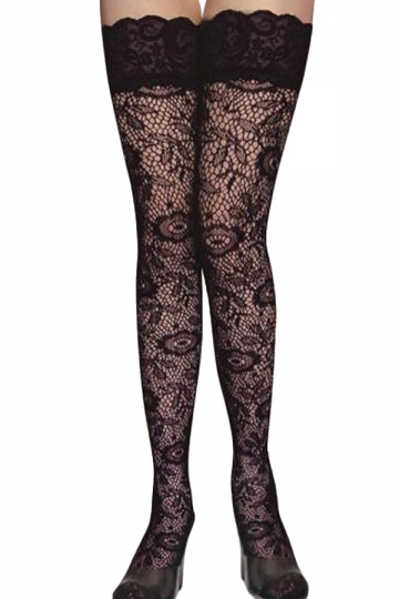 Black Sexy Womens Jacquard Printed Lace Tattoo Stockings