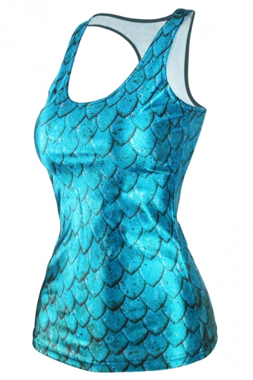 Blue Fashion Womens Crew Neck Fish Scale Printed Tank Top