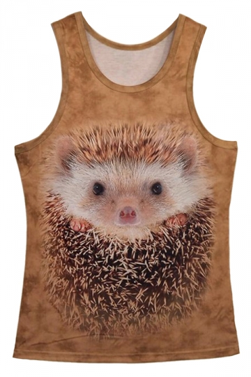 Beige Ladies Trendy Hedgehog Printed Tank Top