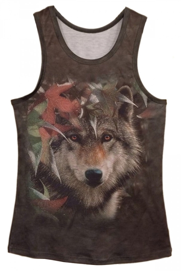 Green Ladies 3D Wolf Printed Cool Tank Top