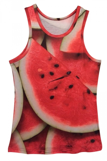 Red Womens Cute 3D Watermelon Printed Tank Top