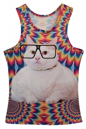 Red 3D Cat Fashion Ladies Casual Cute Tank Top