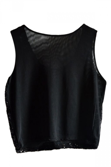 Black Womens Fancy Stripe Sequins Tank Crop Top
