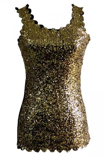 Gold Ladies Sexy Slim Sequins Vintage Tank Top