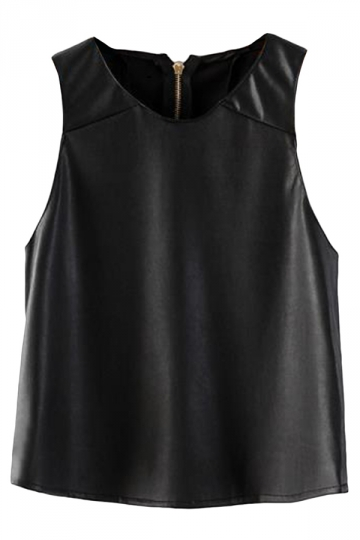 Black Pretty Womens Crew Neck Sleeveless Zipper PU Camisole Top
