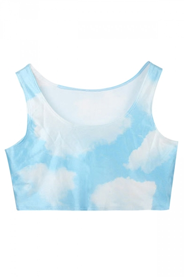 Blue Charming Womens Sky Cloud Printed Tank Crop Top