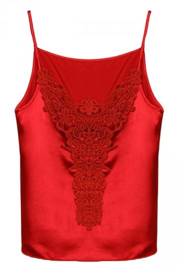 Red Spaghetti Straps Sexy Womens Lace Chiffon Camisole Top