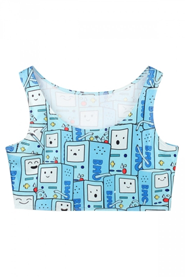 Turquoise Cute Ladies Cartoon Games Printed Tank Crop Top