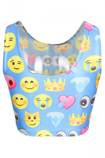 Blue Cute Womens Emoji Printed Crop Tank Top