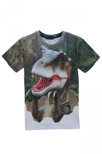 Green Cute Ladies Crew Neck Dinosaur Printed Short Sleeve T-shirt