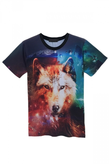 Blue Stylish Ladies Crew Neck The Wolf Printed T-shirt
