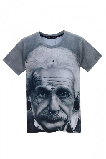 Gray Punk Womens Crew Neck Einstein Printed Short Sleeve T-shirt