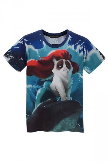 Blue Sexy Ladies Mermaid Grumpy Cat Printed Crew Neck T-shirt