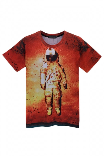 Red Trendy Lades Crew Neck Short Sleeve Astronaut Printed T-shirt