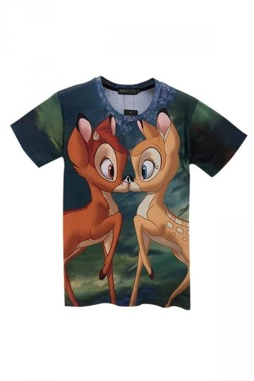 Green Cute Womens Crew Neck Cartoon Bambi Printed T-shirt