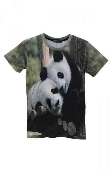 Green Cute Womens Crew Neck Panda Printed Short Sleeve T-shirt