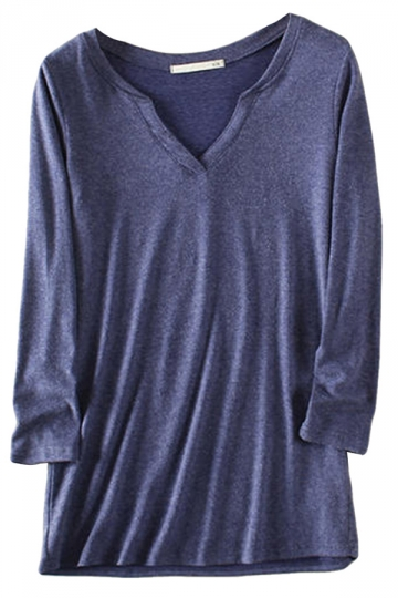Blue Casual Womens V-neck Long Sleeve T-shirt
